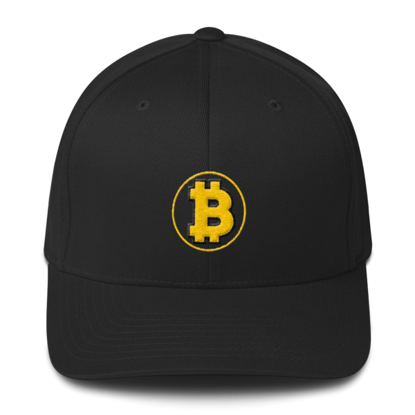 6e0fe5aadf6f6 Bitcoin  The Original – 3D Puff – Flexfit Structured Cap - Black - Front