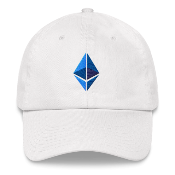 Ethereum logo – Low Profile Cap - White - Front