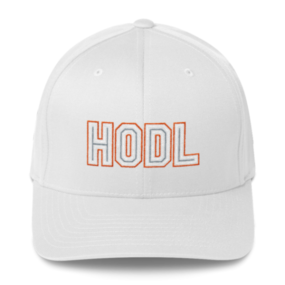 HODL – Flexfit Structured Cap – Gold/White/Grey - White - Front