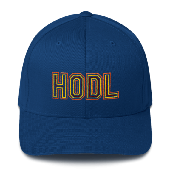 HODL - Flexfit Structured Cap – Gold/Yellow/Maroon - Royal Blue - Front