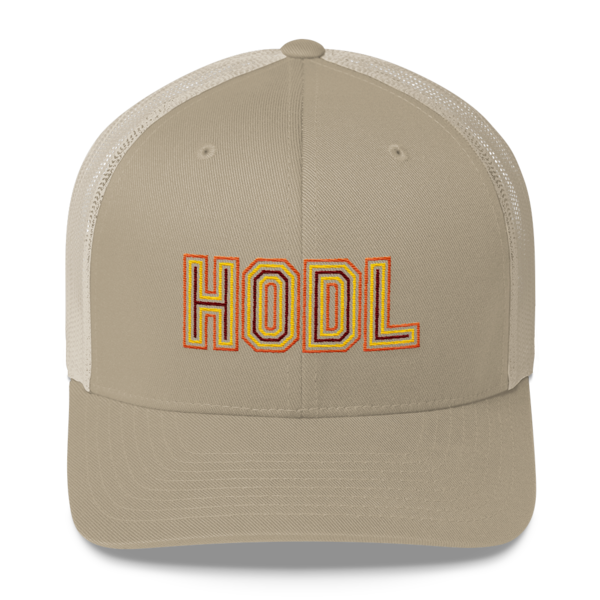 HODL - Retro Trucker Cap - Gold/Yellow/Maroon - Khaki - Front