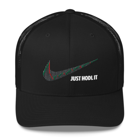 Just HODL it – Retro Trucker Cap - Black - Front