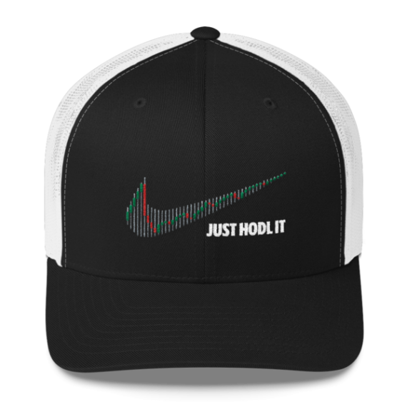 Just HODL it – Retro Trucker Cap - Black/White - Front