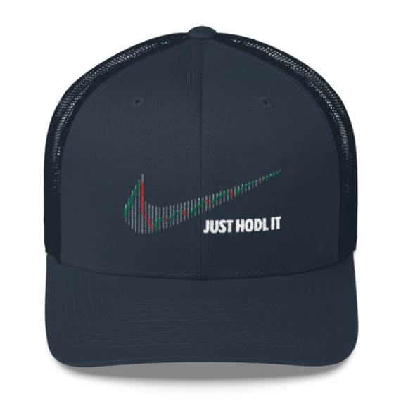 Just HODL it – Retro Trucker Cap - Navy - Front