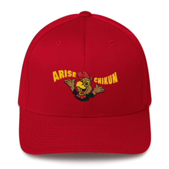Litecoin hat - Arise Chikun! – Flexfit Structured Cap – Dark - Red