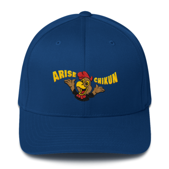 Litecoin hat - Arise Chikun! – Flexfit Structured Cap – Dark - Royal Blue