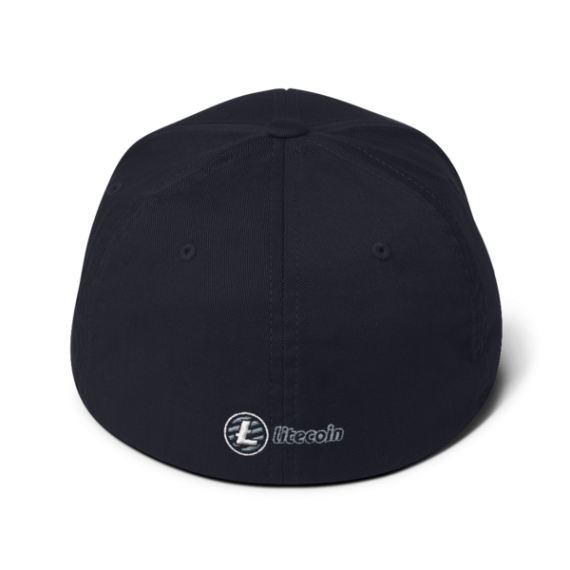 Litecoin logo - 3D Puff – Flexfit Structured Cap - Navy - Back