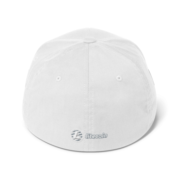 Litecoin logo - 3D Puff – Flexfit Structured Cap - White - Back