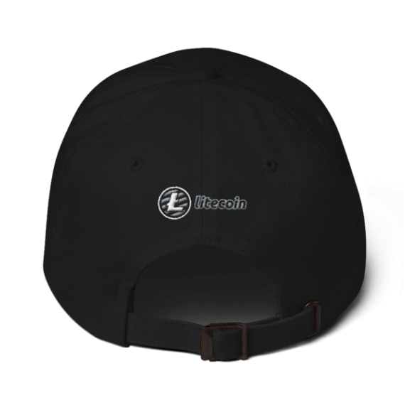 Litecoin logo - 3D Puff – Low Profile Cap - Black - Back