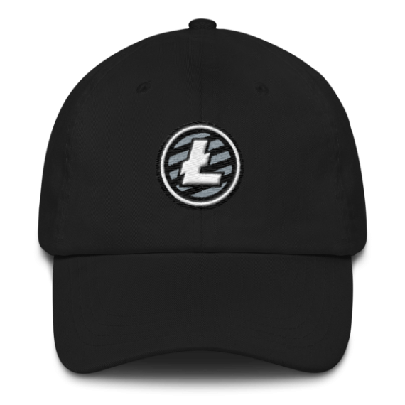 Litecoin logo - 3D Puff – Low Profile Cap - Black - Front