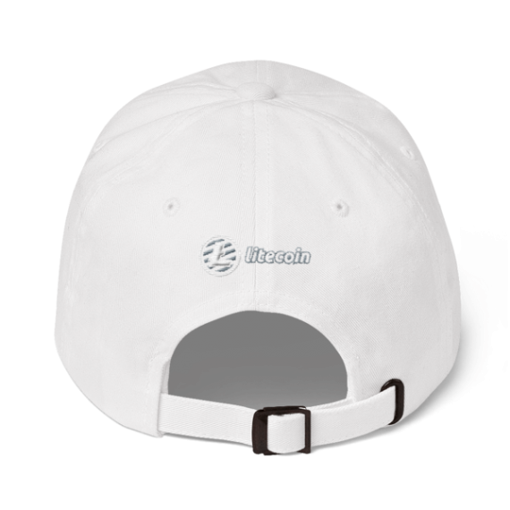 Litecoin logo - 3D Puff – Low Profile Cap - White - Back