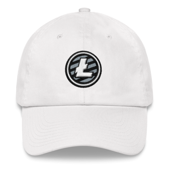 Litecoin logo - 3D Puff – Low Profile Cap - White - Front
