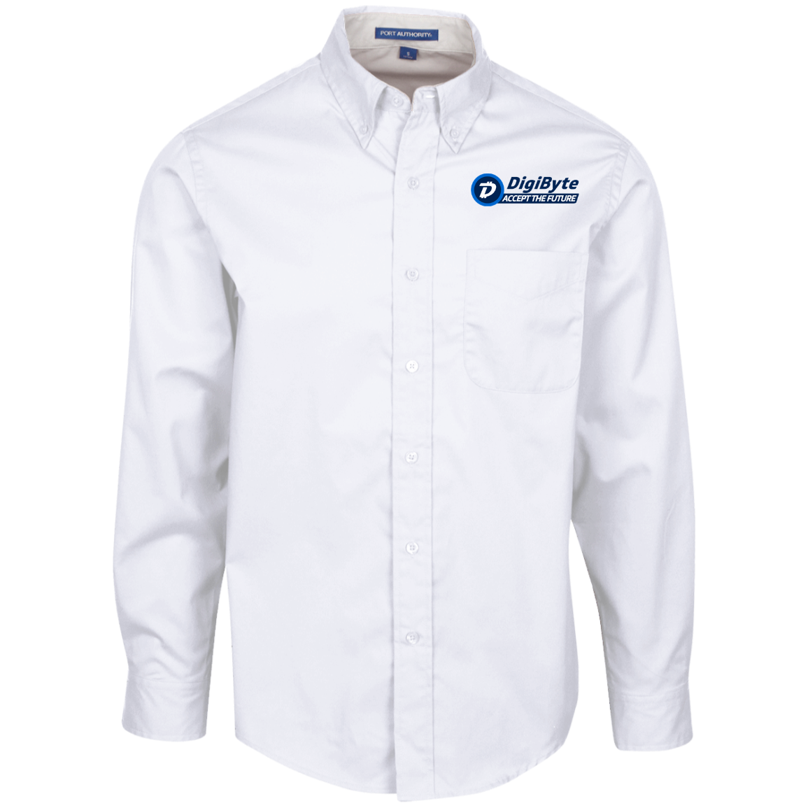 DigiByte Accept the Future – Embroidered Long Sleeve Shirt by Port Authority