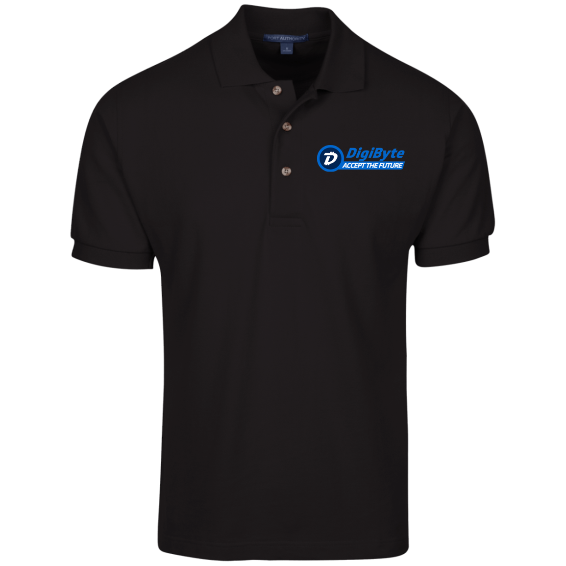 DigiByte Accept the Future – Embroidered Cotton Polo by Port Authority (Dark)