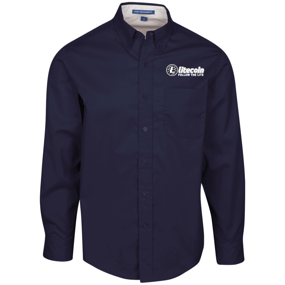 Litecoin Follow The Lite – Embroidered Long Sleeve Shirt by Port Authority (Dark)