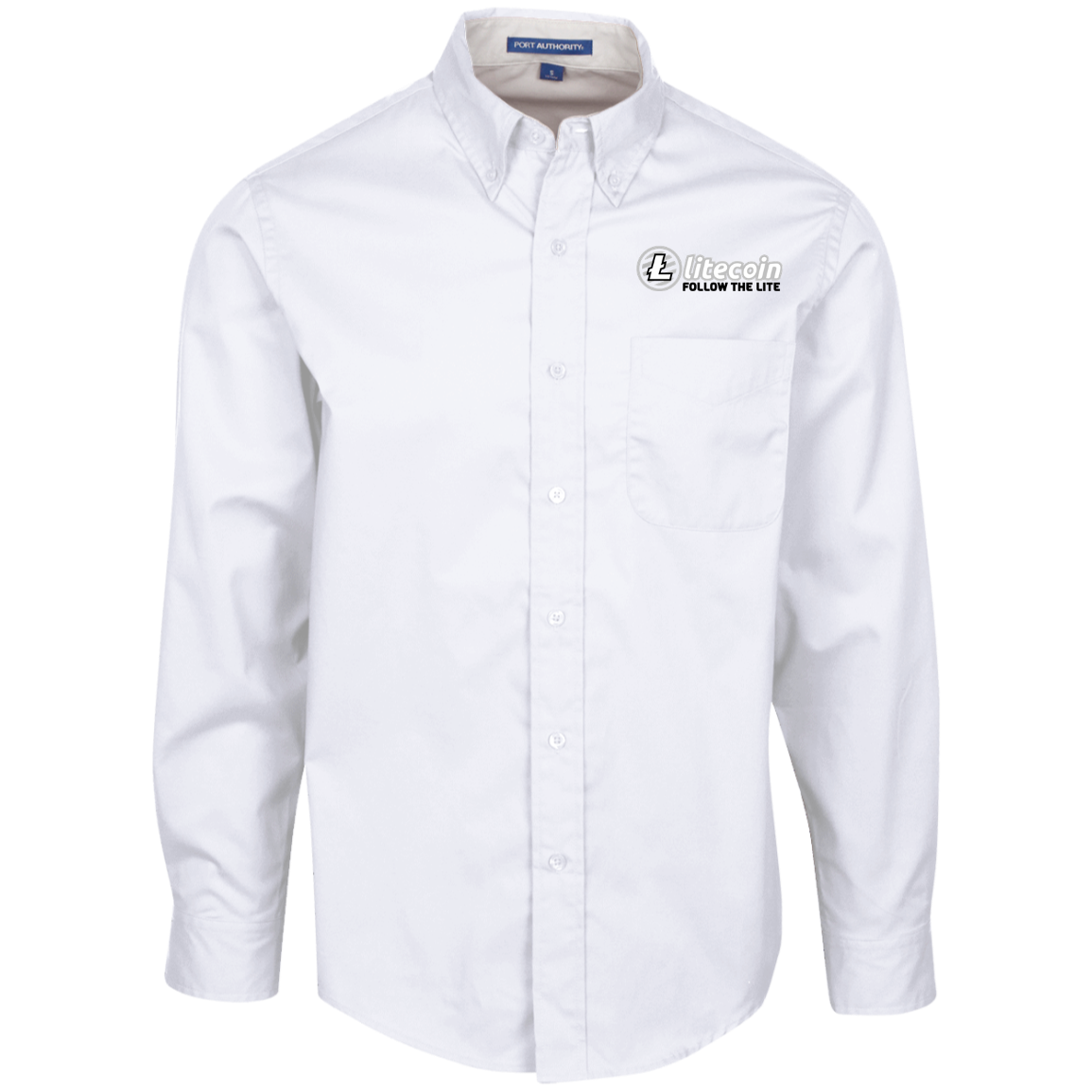Litecoin Follow The Lite – Embroidered Long Sleeve Shirt by Port Authority