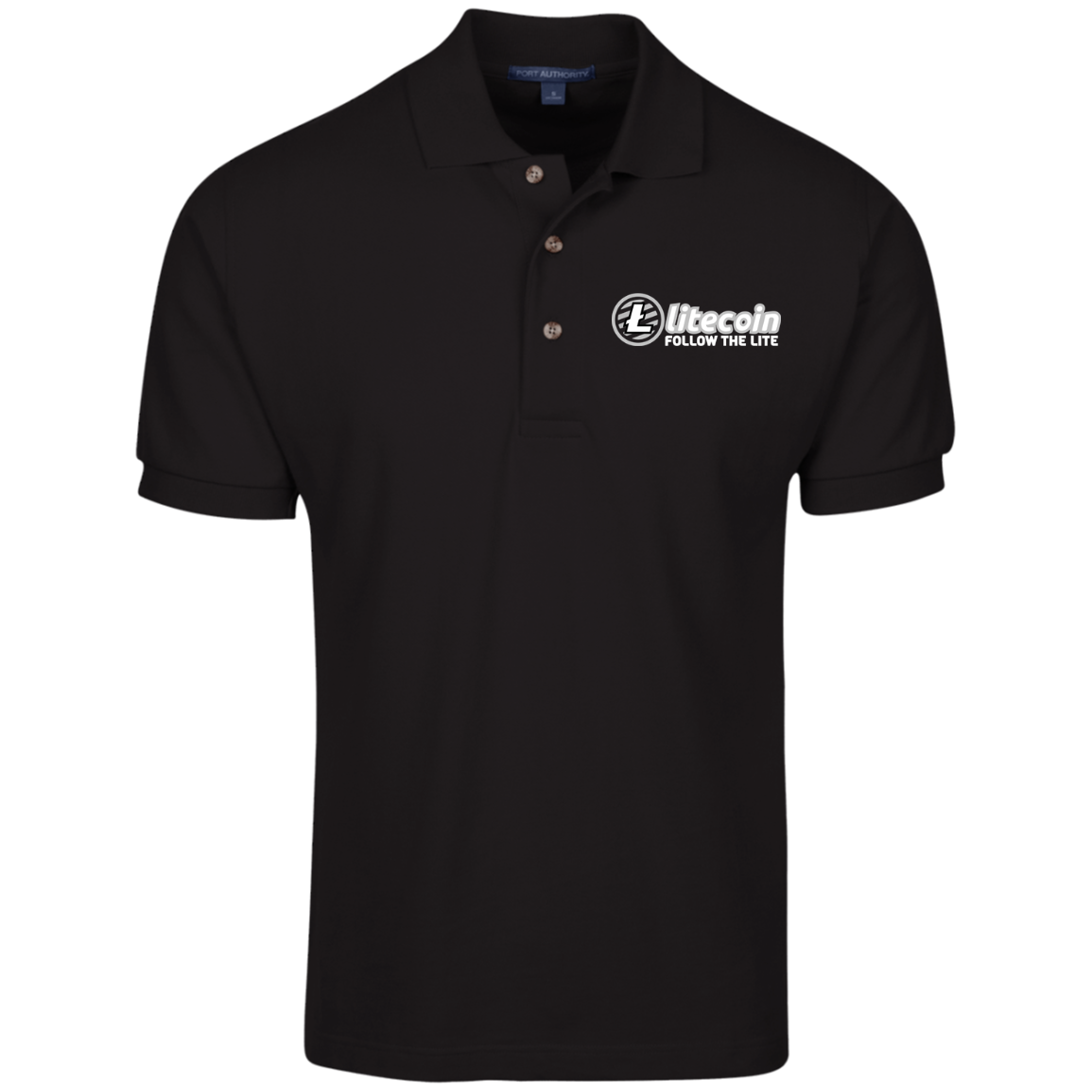 Litecoin Follow The Lite – Embroidered Cotton Polo by Port Authority (Dark)