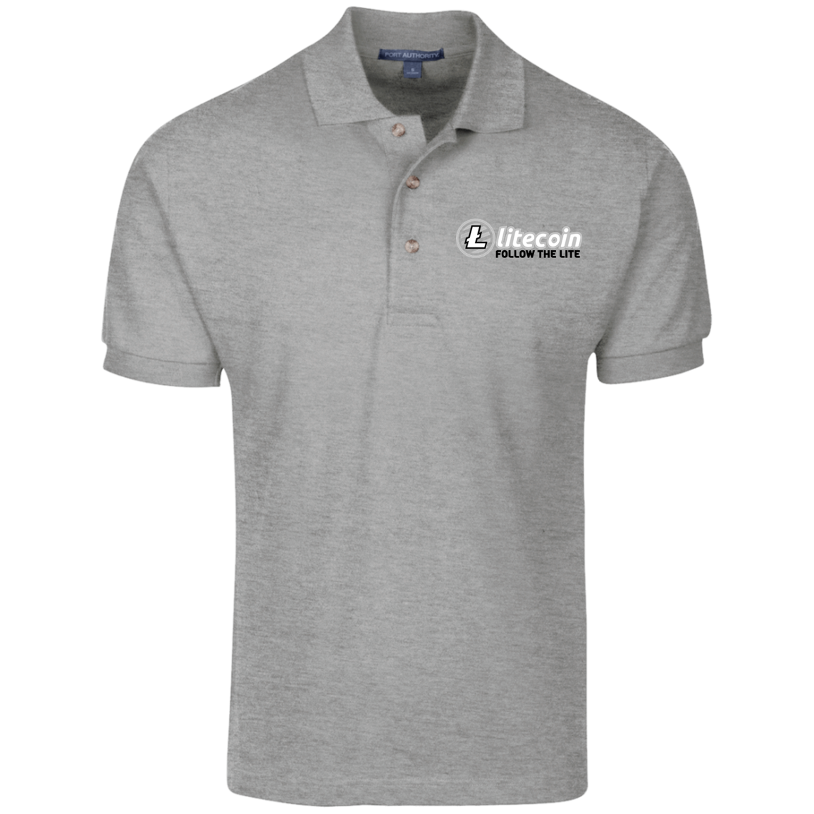 Litecoin Follow The Lite – Embroidered Cotton Polo by Port Authority